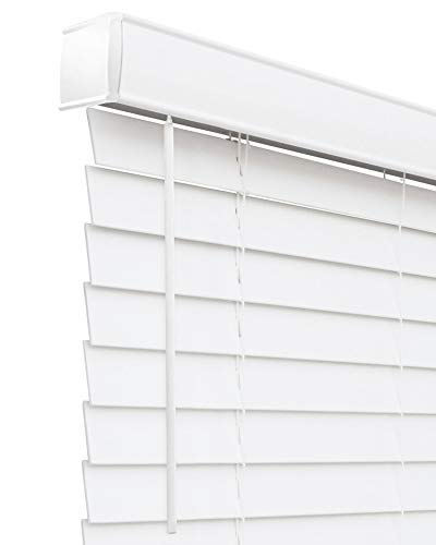 """CHICOLOGY Cordless Faux wood blinds Best for Kids, Inside Mount, 48""""W X 60""""H, Basic White"""
