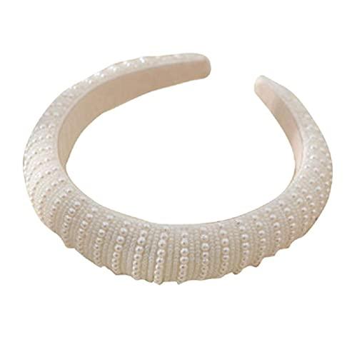 ZOUD Damen Perlen-Tiara Kronen Hochzeit Stirnband Perlen Kopfbedeckung Prinzessin Haarband für Braut zierlich Kopfschmuck Party Kopfschmuck breit Braut Stirnband