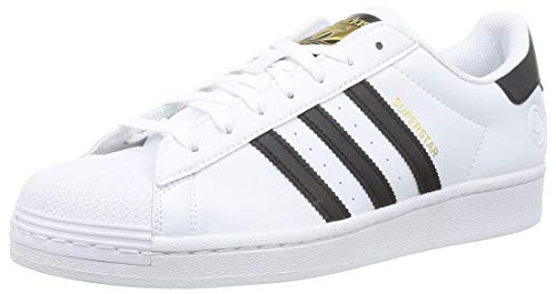 adidas Originals Mens Superstar Vegan Sneaker, Footwear White/Core Black/Green,43 1/3 EU