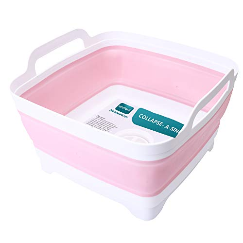 Flow.month Dish Basin Collapsible with Drain Plug Carry Handles for 9 L Capacity, Collapsible Sink Tub, Dish Wash Basin, Portable Dish Tub, Foldable Dishpan for Camping Dish Washing Tub and RV