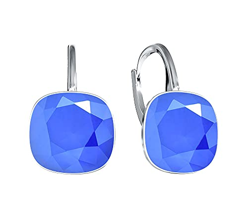 Crystals & Stones *Viele Farben* Silber 925 *SQUARE* - Ohrringe mit Kristallen von Swarovski® - Schön Ohrringe Damen Ohrhänger - Wunderbare Ohrringe mit Schmuckbox (Royal Blue)