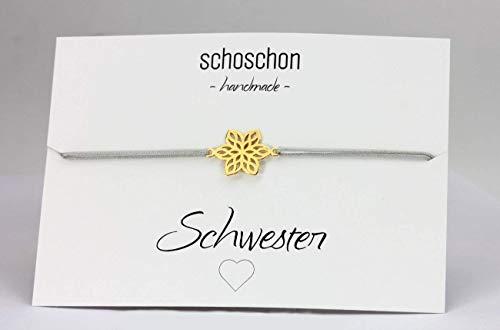 SCHOSCHON Damen Armband Blume 925 Silber vergoldet Hellgrau-Gold // Schwester beste Freundin Textilarmband Freundschaft Schmuck