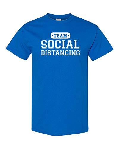 CreateMyTee | Team Social Distancing T-Shirt | Funny Quarantine 2020 Introvert Joke Mens/Womens T-Shirt (Royal, X-Large)