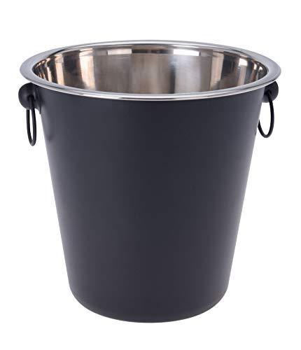 Glacette in acciaio inox 20,5 cm – Colore: nero – Ideale per il raffreddamento di spumanti o liquori – Design secchiello per champagne