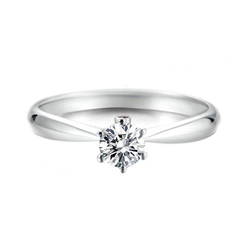 Epinki Damen Diamantring 18K Gold Ringe (Au750), 0.3Ct Sechs Klaue Rund mit Diamant Verlobungsringe Solitärring für Braut Gr.45 (14.3)