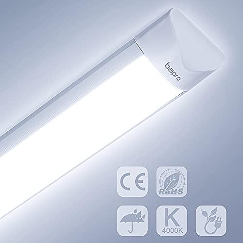 60cm Tube LED, 20W 1500LM Réglette LED, Étanche 6500K Blanc Froid Neon LED pour Bureau, Garage, Salle de Bains, Hôtel, Hôpital, Entrepôt, Cuisine