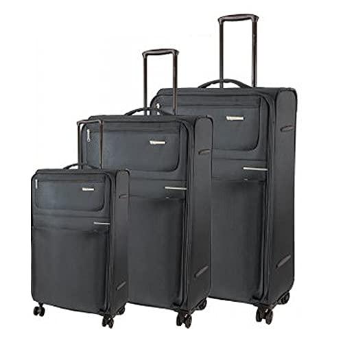 Sirocco - Juego de equipaje suave de 4 W (3 piezas, peso ligero, 4 ruedas giratorias), Black, o,