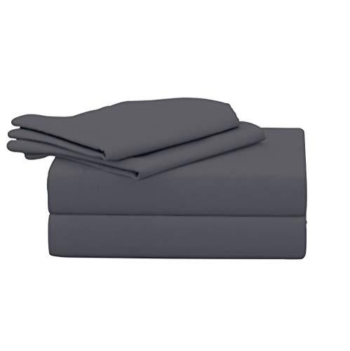 Evon beddings - Juego de sábanas de algodón Egipcio de 600 Hilos, tamaño Queen, 4 Piezas, 38,1 cm de Profundidad, Color Gris