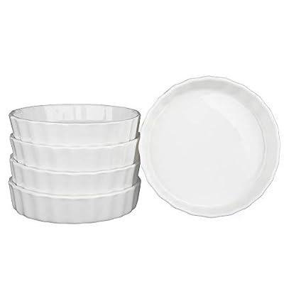 SZUAH Porcelain Ramekins, Baking Ramekins Set of 5, 5oz (4.9 INCH) for Souffle, Creme Brulee, Appetizer, Custard, Pudding and Ice Cream.