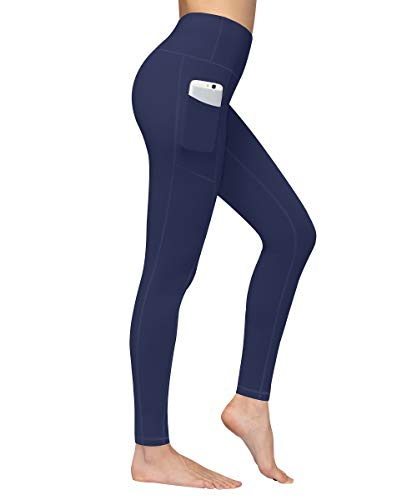 Fengbay High Waist Yoga Pants, Pocket Yoga Pants Tummy Control Workout Running 4 Way Stretch Yoga Leggings Navy Blue