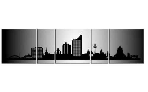 TOP Bild auf Leinwand CITY PANORAMA Leipzig Silber 5 TEILE DIGITAL Arts AP500027 Bilder fertig bespannt auf Keilrahmen. Kunstwerk als Wandbild auf Rahmen. GRÖßE WÄHLEN! GÜNSTIGER ALS Ölbild Gemälde Poster Plakat mit Bilderrahmen! MADE IN GERMANY