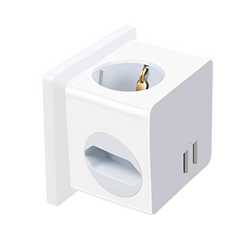 Enchufe de Pared con USB 2.4A Schuko Regleta Enchufe USB Pared Toma de Corriente Pared para Smartphone MP3