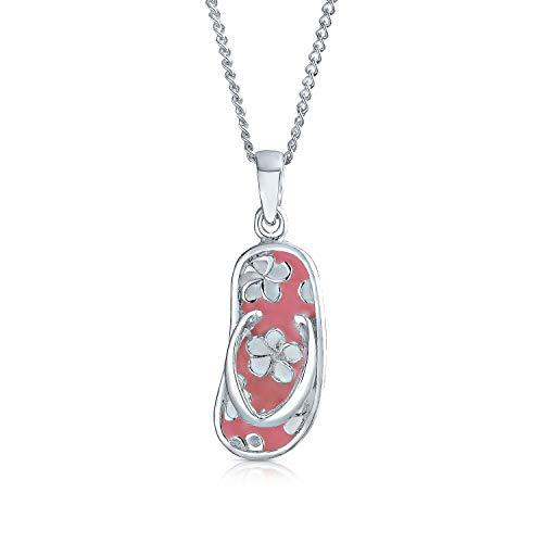 Bling Jewelry Nautisch Flip Flop Rosa Strand Sandale Anhänger Halskette Für Frauen Für Teen 925 Sterling Silber