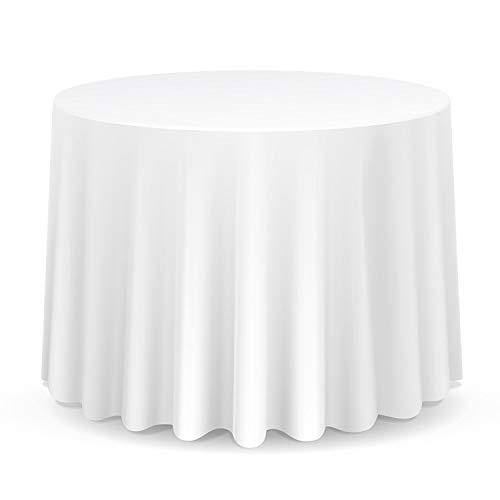 Wedding Supply - Tovaglia rotonda in cotone e poliestere, per matrimonio, cene e feste di compleanno, 228cm, Tessuto, Single, Bianco