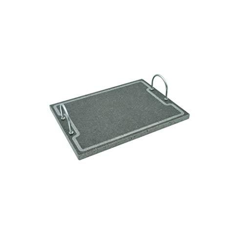 Etna Stone & Design Lava Grill Plus 40 x 30 cm parrilla con asas piedra volcánica etnea placa lijada para horno y barbacoa cocción carne, pescado, verduras y pizza