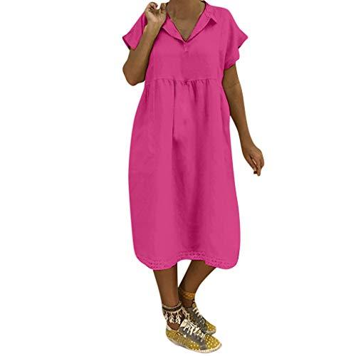 LOPILY Lose Tunika Blusenkleider Damen Sommer Lässige Spitzensaum V-Ausschnitt Kleider Strandkleid Einfarbig Einfach Bequem Freizeit Knielang Sommerkleider Übergröße(Hot Pink,DE-48/CN-4XL)