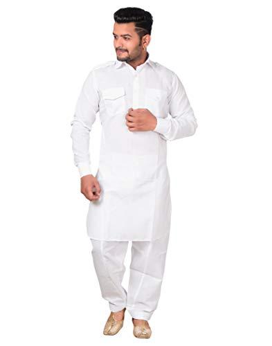ESTILO VASTRA Men's Cotton Pathani Suit/Traditional Kurta with Pathani salwar/Stylish Salwar Suit set for Mens