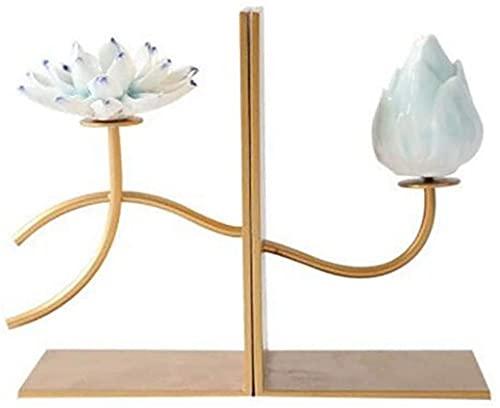 LQ Boek Einde Keramische Lotus Bookens Metalen Basis Boek Einde Office Desktop Boek Stoppers Creativiteit Boek Plank Houder Home Decoratieve 1 paar Stopperboek map (Color : Gold, Size : 8.6×7in)