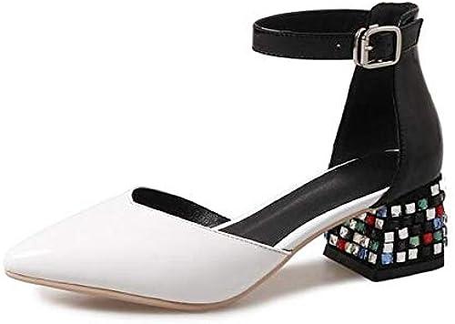 ZHZNVX schuhe de damen Nappa Leather Summer Comfort Tacones Chunky Heel Weiß schwarz rot