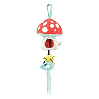 B toys – Magical Mellow-Zzzs Nursery Mobile – Musical Pullstring Baby Mobile with Soft Light – Natural Take Along Mobile - 100% Non-Toxic and BPA-Free