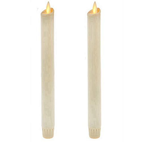 """Ksperway 8"""" Set of 2 Ivory Unscented Wax Flameless Taper Candles Moving Wick LED Candle with Timer and Remote"""
