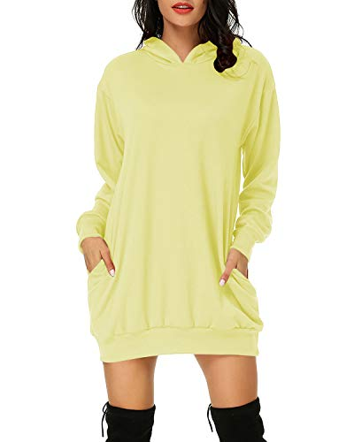 Auxo Damen Hoodie Kleid Pullover Langarm Sweatshirts Kapuzenpullover Tops Herbst Mini Kleid 01-Zitronengelb M