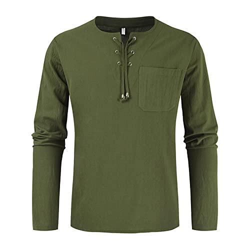 Camisa Tipo Jersey de Manga Larga para Hombre Moda Color sólido Costura de Bolsillo Tendencia Simple Diario Ocio Camisa básica con cordón XL