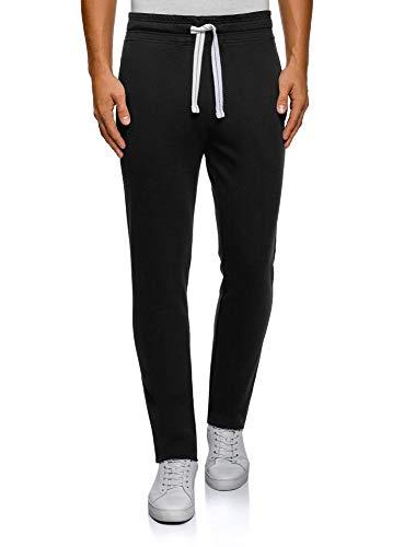 oodji Ultra Hombre Pantalones de Punto Básicos, Negro, L