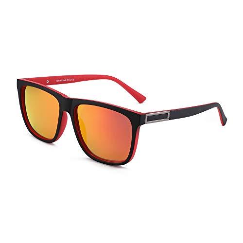 GLINDAR Gafas de Sol Retro Polarizadas Para Hombres y Mujeres Gafas de Espejo Cuadradas Vintage UV400 Marco Negro Rojo / Lente Roja Espejo