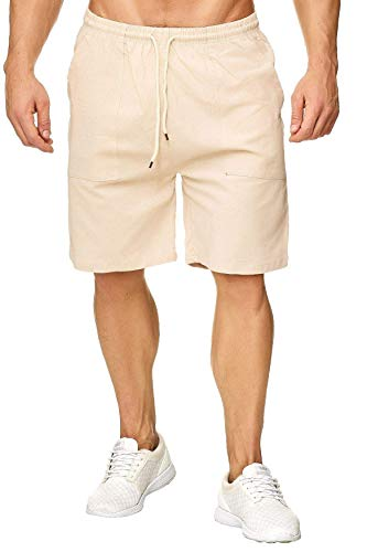 Mens Elastic Waist Drawstring Linen Beach Shorts Summer Casual Classic Fit Short Pants with Pockets (Beige Linen Shorts, 2XL)