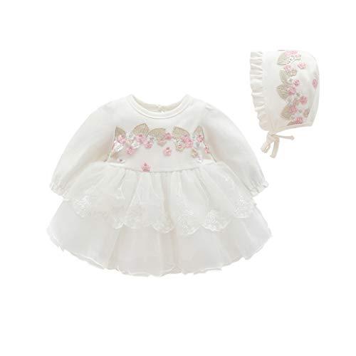 Allence Baby Mädchen Prinzessin Kleid Blumenmädchenkleid Taufkleid Festlich Kleid Hochzeit Partykleid Festzug Babybekleidung+Hut