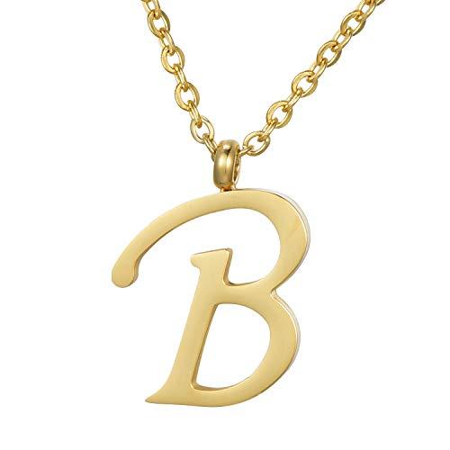 Morella Damen Halskette mit Buchstabe B Anhänger Edelstahl Gold in Schmuckbeutel