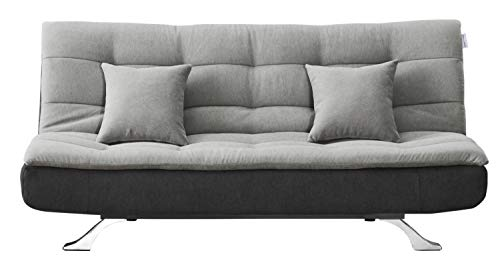 Scarlet Full Tufted Back Convertible Sofa with Grey/Black Color. Simple and Stylish Design are Perfectly for Apartment, condo, Studio, Living Room, Small Spare