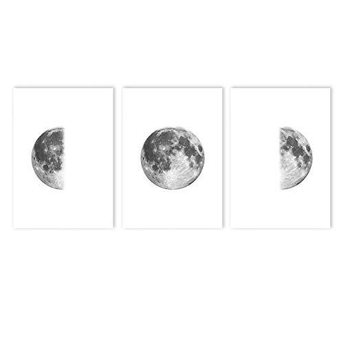 MXK Póster de Luna Gris Impresión de Arte de Pared Minimalista Fase Lunar Pintura de Lienzo Carteles Cuadros de Pared en Blanco y Negro Decoración de Sala de Estar 50x70cm Sin Marco