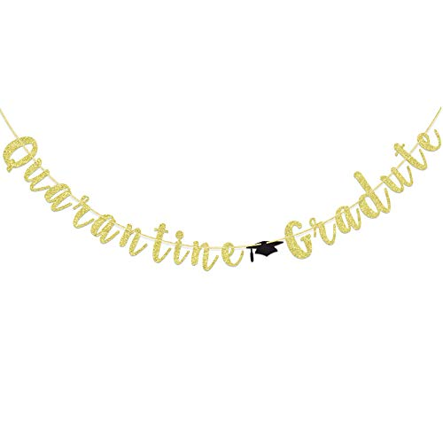 Quarantine Graduate Banner for College Graduation Ceremony Supplies, Viruses Theme Virtual Graduation Party Decorations, Trencher Caps Sign (Gold Glitter)