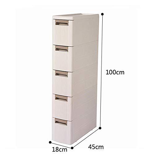 QOTS 18cm breiter schmaler Schrank, Schubladenschrank, Snackschrank, Wohnzimmer Küche Bad-1_5 Schichten (100cm hoch)