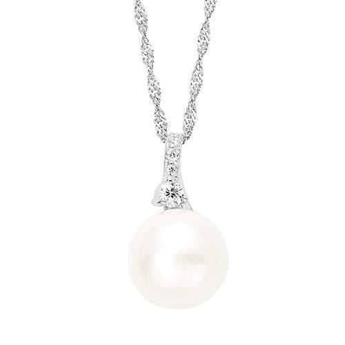 amor Kette mit Anhänger für Damen 42 cm mit Anhänger 925 Sterling Silber rhodiniert Zirkonia weiß Perle Süßwasser-Zuchtperle