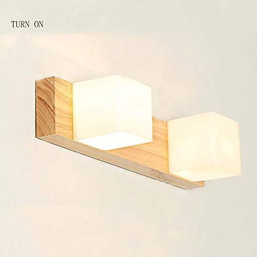 NA Home Badkamerspiegel koplamp Simple Modern Hout spiegel licht woonkamer slaapkamer Bedside WC spiegel licht, twee maten optioneel lamp inbegrepen, spiegel koplamp, 37 cm