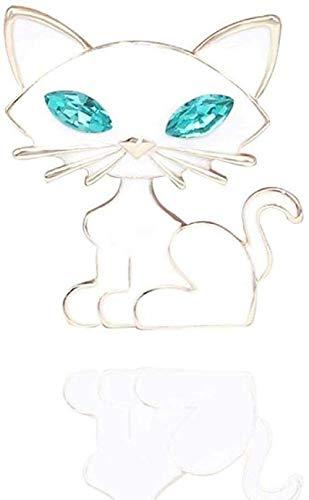 XONGZZJ Brosche Neuheit Broschen Pins weiße Katze Brosche Neue süße grüne Crystal Eye Kitty Emaille Faszination Schmuck Brosche für Schal Clips