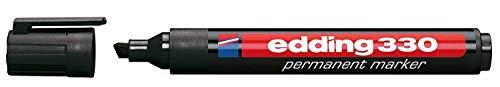 edding 330 Permanentmarker, Schwarz, Industrie, Permanent Marker, Keil, 5 mm, VE: 10 Stück