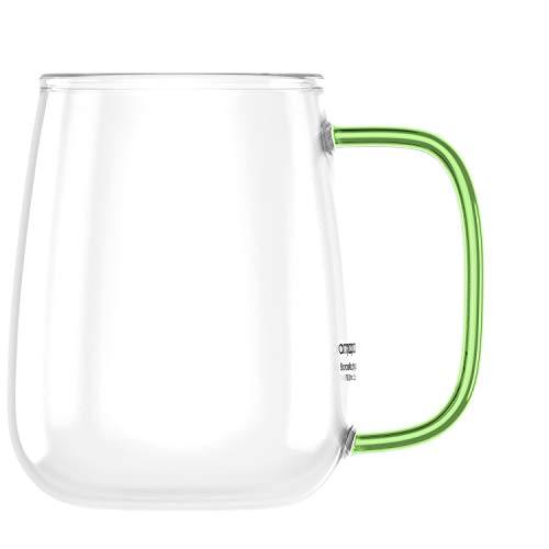 amapodo Koffiemok groot – glazen mok met handvat groen 700ml – XXL kantoor koffiemok – Jumbo koffieglas plasticvrij…