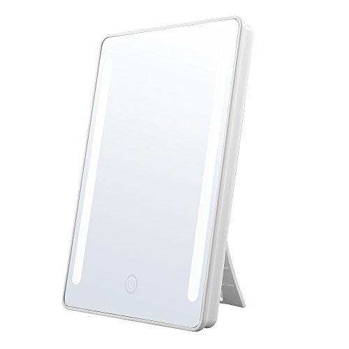 Jerrybox Schminkspiegel mit Beleuchtung Kosmetikspiegel mit Licht LED Make up Spiegel Faltbarer Standspiegel Tischspiegel, 180° Einstellbar, Frauen