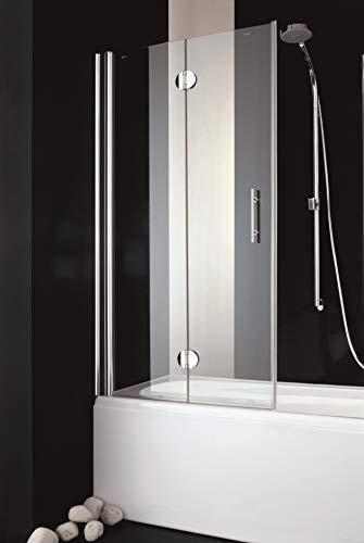 Badewannenaufsatz; Badewannenfaltwand; Badewannenduschwand: Faltwand; 6mm Sicherheitsglas inkl. Beschichtung weiß o. Alufarbe