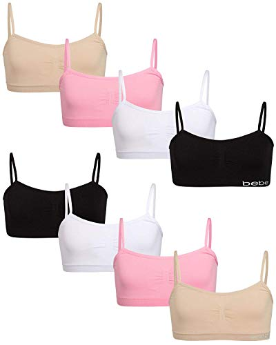 bebe Girl's Seamless Training Cami Sports Bra (8 Pack), Size Medium, Black/White/Light Pink/Almond
