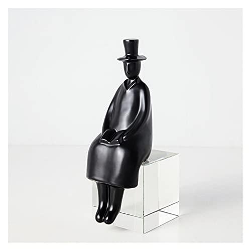 Decoración de estantería Caballero Escultura Oro hogar Decorativo figurillas sólido Blanco Negro Gente Estatua habitación decoración Hombre Padre Regalo para la decoración del hogar