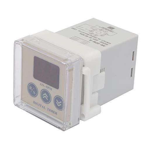 EVTSCAN Último AN-5PM-R AC 220V Temporizador de retardo de encendido Relé de tiempo digital de 8 pines con alarma