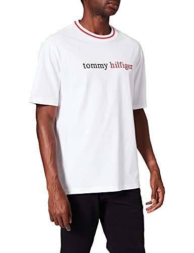 Tommy Hilfiger Herren Cn Ss Tee Logo Schlafanzugoberteil, Weiß (Pvh Classic White), Medium (Herstellergröße:)