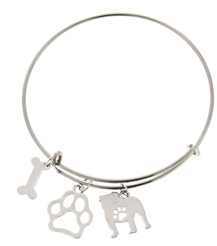 Bulldog Bracelet Gift Love Dog Breed Adjustable Bangle Charm Silver-Tone Bracelet Gift for Bulldog Owner Jewelry Box Keepsake Idea for A Rescue Dog Mom