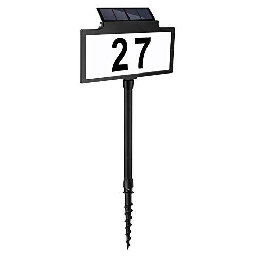LeiDrail Solar beleuchtete Hausnummer mit Lampe Solarhausnummer LED beleuchtet Solarleuchte mit Dämmerungsschalter Hausnummernleuchte Solar Hausnummerleuchte Hausnummer Schild Wetterfest 70cm hoch