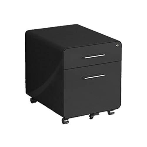 DHTOMC Rollcontainer 2 Schublade Mobile File Cabinet mit Schloss Vertikale Aktenschrank Multi-Schubladenschrank Heimbüro (Color : Black, Size : 48x50x40cm)